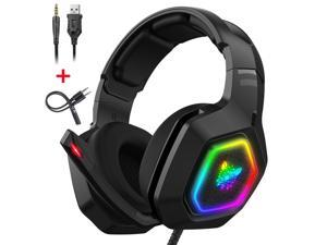 RGB Gaming Headset with PS5,PS4,Xbox One Headset with Noise Canceling Mic&Led Light,PC Headset with 7.1 Bass Surround Sound for PC,Xbox One Controller,PS5