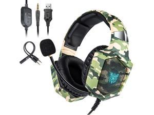 Gaming Headset for PS4, Xbox One, PC Headset w/Surround Sound, Noise Canceling Over Ear Headphones with Mic & LED Light, Compatible with PS5, PS4, Xbox One, Switch, PC, PS3, Mac, Laptop