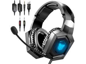Gaming Headset for PS4 Games, Xbox One Headset for PS4, PS5 with Noise Cancelling Mic, 7.1 Surround Sound, RGB Light, Over-Ear Headphones Compatible with PS4, PS5, Xbox One, PC, Mac, Laptop
