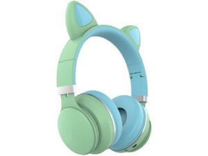 Headset Wireless Headset Bluetooth Headset Cat Ear Bluetooth Gaming Headset Cute Portable Outdoor Sports Gaming Headset (Color : Green)