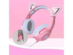 XFTOPSE QUANXI Pink Cat Ear Gaming-Headset, Wired Game Headset with Microphone & RGB Light Removeable Cat Ear Headphone 7.1 Stero Headset,Suitable for PC/Laptop/Ipad/Smartphone