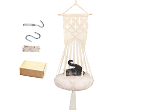 Macrame Cat Hammock,Macrame Hanging Cat Swing with Hanging Kit for Indoor Cats