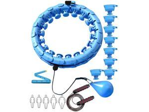 28Pcs Weighted Hoola Hoop Trainer, Plus Size Smart Exercise Hula Hoops with Skipping Rope and Tape Measure for Adults Weight Loss Blue
