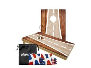 Cornhole Boards Highway Set with 8 Cornhole Bags,100% SOLID WOOD,adopt UV digital printing,and are treated with a transparent waterproof coating