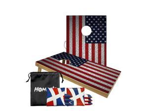 Cornhole Boards American Flag Set with 8 Cornhole Bags,100% SOLID WOOD,adopt UV digital printing,and are treated with a transparent waterproof coating