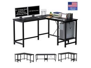 """55"""" Computer Desk L-Shaped Corner Gaming Desk Home Office Adjustable Computer Table, Writing Study Workstation Table, Solid Wood Steel Structure with Storage Shelf"""