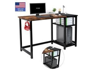 """47.2"""" Computer Desk Home Office Computer Table,Study Writing PC Table for Home Office Modern Simple Style Gaming Desk PC Desk with Double Storage Shelves, Hook, Black Metal Frame - Black"""