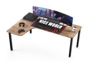 """61"""" Gaming Desk  L-Shaped Corner Computer Desk Large Gaming Table Left Hand Corner Computer Table Home Office PC Laptop Workstation with Large Keyboard Mouse Pad - Oak"""