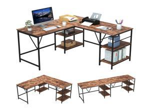 """59"""" Computer Desk L Shaped Computer Table Convertible 94.5"""" 2 Person Home Office Workbench Large Corner Gaming Desk with 2 Storage Shelves and 3 S-shaped Hooks - Brown"""