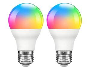 Giant Base Smart Light Bulb, A19 E26 9W Wi-Fi LED Smart Bulb, Works with Alexa, Echo, Google Home & Siri (No Hub Required), RGB-CCT Multicolor, Warm to Cool White Dimmable, 60W Equivalent 2 Pack