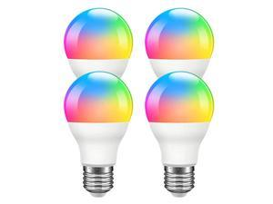 Giant Base Smart Light Bulb, A19 E26 9W Wi-Fi LED Smart Bulb, Works with Alexa, Echo, Google Home & Siri (No Hub Required), RGB-CCT Multicolor, Warm to Cool White Dimmable, 60W Equivalent 4 Pack
