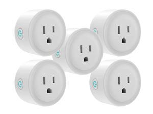 Giant Base Smart Plug, Smart WiFi Outlet Works with Alexa and Google Home, 2.4G WiFi Only, No Hub Required, Remote Control Your Home Appliances from Anywhere, ETL and FCC Listed 5 Pack