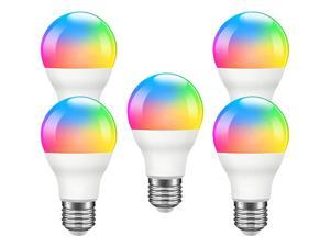 Giant Base Smart Light Bulb, A19 E26 9W Wi-Fi LED Smart Bulb, Works with Alexa, Echo, Google Home & Siri (No Hub Required), RGB-CCT Multicolor, Warm to Cool White Dimmable, 60W Equivalent 5 Pack