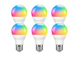 Giant Base Smart Light Bulb, A19 E26 9W Wi-Fi LED Smart Bulb, Works with Alexa, Echo, Google Home & Siri (No Hub Required), RGB-CCT Multicolor, Warm to Cool White Dimmable, 60W Equivalent 6 Pack