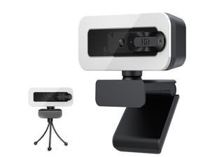 Giant Base 2K Webcam with Light, USB PC Computer Web Camera with Microphone & Privacy Cover, Light w/Adjustable Brightness, Auto-Focus, Tripod, 360° Rotate for Recording, Conferencing & Video Calling