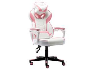Gaming Chair Office Chair Racing Executive Ergonomic Swivel Task Chair High Back Computer Chair PU Leather Desk Chair  Seat Height Adjustable, with Headrest and Lumbar Support(Pink)