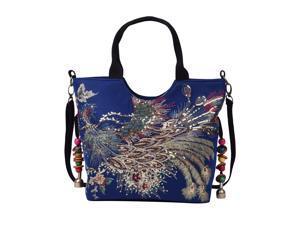 Shop LC Blue Embroidered Phoenix Pattern Tote Bag Adjustable Shoulder Strap Zipper Closure Women Handbag Purse
