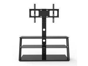 """32-65"""" Height adjustable TV Base, Universal TV Stand with 3-Tier Tempered Glass Shelves, Corner Floor TV Stand with Swivel Bracket, , Black"""