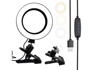 Ring Light For Laptop, 6 inch Strong Clip Fill Light With Adjustable Temperature LED Ring Light Desktop Computer Clip Light, Cable Length: 2 Meters
