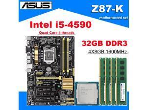Asus Z87-K Motherboard Combo Set with Intel Core i5-4590 LGA 1150 CPU 4pcs X 8GB = 32GB 1600MHz DDR3L Memory by Avarum Ram