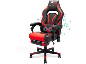 SOUTHERN WOLF Gaming Chair with Bluetooth Speakers Ergonomic Reclining Home Office Chair with Footrest Racing Video Game Chair with Lumbar Massage Support PC Computer Desk Chair for Adult Teens Red