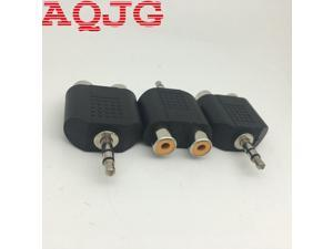 Gold-plated 3.5mm Stereo Plug to 2RCA (Red+White) Female Connector Adapter 3.5 TO RCA AQJG