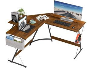 L Shaped Computer Desk, 50.2'' Corner Desk, Large Home Office Student Writing Desk with Monitor Stand, Iron Hook, Easy Assembly, Walnut