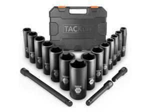 """TACKLIFE HIS2A-17 Pieces Socket Set, 1/2-Inch Drive Deep Impact Socket Set with SAE Size 3/8"""" - 5/4"""" inch, CR-V Steel and 6 Point Design, Perfect for Home, Mechanic and Repair Project"""