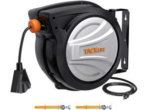 TACKLIFE ECR02A Extension Cord Reel, 65ft Retractable Extension Cord + 4.5ft/12AWG/SJTOW Rated Cord, Cord Holder with Swivel Bracket, Overload Protection, Auto Retraction and Triple Socket for Wall