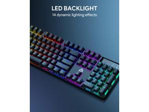 AUKEY KM-G16 Mechanical Gaming Keyboard with Clicky Blue Switches & LED Backlight, 104-Key Anti-Ghosting Wired Mechanical Keyboard with Macro Recording & Ergonomic Design for PC and Laptop
