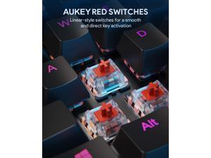 AUKEY Mechanical Gaming Keyboard with Customizable RGB Backlight, Tactile & Clicky Red Switches, 104-Key Anti-Ghosting Wired Keyboard with Surround Lighting, Steel Body for PC and Laptop KM-G12