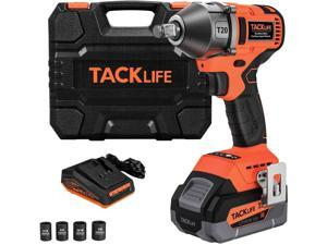 TACKLIFE T20 20V Brushless High Torque Impact Wrench Kit, 1/2-Inch Impact Gun With Hog Ring, Max Torque 370 Ft-Lbs (550N·m), Cordless Impact Wrench With 4.0Ah Li-Ion Battery, Quick Charger & 4 Sockets