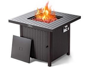 """TACKLIFE 31.2"""" Propane Fire Pit Table, Outdoor Companion, 50,000 BTU Auto-Ignition Gas Fire Pit With Lid, with Cover, ETL Certification And Strong Striped Steel Surface, Summer Table, Winter Pit-GFP06"""