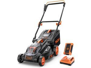 TACKLIFE 16-Inch 40V Brushless Lawn Mower, 4.0AH Battery, 6 Mowing Heights, 3 Operation Heights, 10.5Gal Grass Box - KDLM4040A