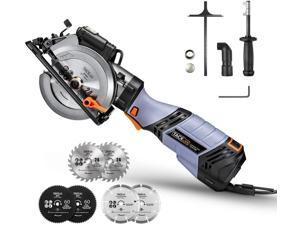 """TACKLIFE 6.2A Premium, Electric Mini Circular Saw With 6 Variable Speed, 6 Blades(5"""" & 4-1/2""""), Unique Metal Handle, Pure Copper Motor, Laser Guide, 10Feet Cord, Small Circular Saw- TCS115E"""