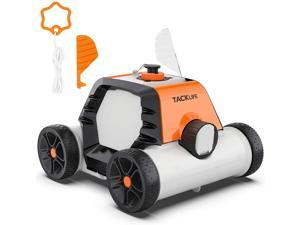 TACKLIFE HJ1103J Robotic Pool Cleaner, 90mins IPX8 Cordless Automatic Pool Vacuum With 2pcs Motors For Above/In-Ground Flat Pool Up To 860 Sq.Ft Orange