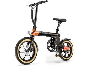"""Macwheel 16"""" Electric Folding Bike, 7.5Ah Lithium-ion Battery, Top Speed 15.5mph, Dual Disc Brakes, Electric Commuter Bicycle for People Aged 14 to 65  LNE-16"""