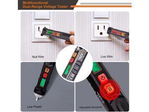 TACKLIFE VT02 Lasers & Levels Non-Contact AC Voltage Tester/Voltage Tester Pen with Adjustable Sensitivity, LCD Display, LED Flashlight, Buzzer Alarm, Dual Range 12V-1000V/48V-1000V & Live/Null Wire