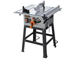 TACKLIFE MTS01A Table Saw for Jobsite, 10 Inch, 15-Amp 24T Blade 4800 RPM 45ºBevel Cutting With Extended Desktop, Pusher, Rip Fence, Miter Gauge, Metal Stand
