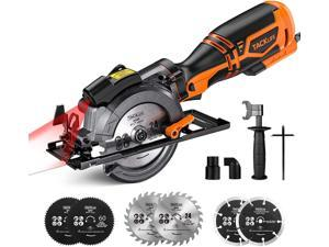 """TACKLIFE Circular Saw With Metal Handle, 6 Blades(4-3/4""""& 4-1/2""""), Laser Guide, 5.8A, Max Cutting Depth 1-11/16'' (90°), 1-3/8'' (45°), Ideal For Wood, Soft Metal, Tile And Plastic Cuts-TCS115A-Orange"""