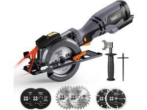 "TACKLIFE TCS115A Circular Saw, 5.8A 3500RPM, Metal Handle, 6 Blades (4-3/4"" & 4-1/2""), Cutting Depth 90° (1-11/16''), 45° (1-3/8''), laser Guide Mini Circular Saw for Wood, Soft Metal, Plastic-Black"