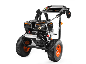TACKLIFE GSW01A 3300PSI Gas Pressure Washer TACKLIFE 6.5HP Power Engine 212cc, 30ft Pressure Hose, 5 Adjustable Nozzles, 1.2gal Large soap Tank, Energy Efficient, CARB Compliant.