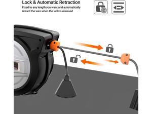 TACKLIFE  ECR01A Retractable Extension Cord, 50FT+4.5, 14AWG / SJTOW Cord Reel, Slow Retraction Technology With Triple Socket, Auto Rewind And Any Length Lock - ECR01A
