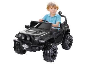 METAKOO HC-8988 Ride On Truck 2WD&4WD, Kids Electric Truck 12V 10Ah with Remote Control, Double Open Doors, Safety Belt & Spring Suspension, LED Lights, USB/ Bluetooth Player,  Gift for Kids