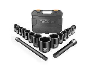 """TACKLIFE HIS3A-17 Pcs Socket Set, 1/2"""" Inch Drive Master Shallow Impact Socket Set with Metric Size 10mm-32mm, CR-V Steel & 6 Point Design, Perfect for Home, Mechanic and Repair Project"""