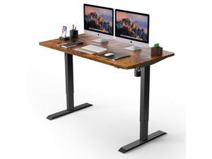 TACKLIFE  HOD1A 48inches Electric Standing Desk, 48 x 24 inches Whole Piece Deskboard adjustable height desk, Quick Assembly, Ultra-Quiet Motor, Standing Desk Brown Top + Black Frame