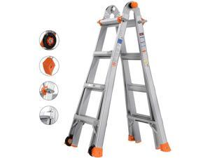 TACKLIFE LD01A-Telescoping Ladder, 17 Feet Aluminum Extension Ladder with 2 Flexible Wheels, Safe Protective Switch, Non-Slip Rubber Feet, 300lb Capacity Multi-Use Ladder