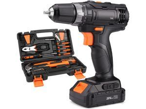 TACKLIFE PHK06B - 20V Tool Kit with Drill,Cordless drill with 60PCS Accessories,19+1 Torque Setting,2 Variable Speed,Home tool kit & Tool box with drill and Storage Case