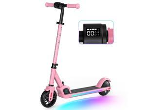 Macwheel Electric Scooter Colorful Rainbow Lights LED Display 3 Level Adjustable Speeds and Heights Foldable and Lightweight - E9 Pro Pink