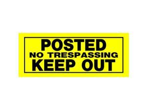 Hillman English Yellow No Trespassing Sign 6 in. H x 15 in. W - Case Of: 6;